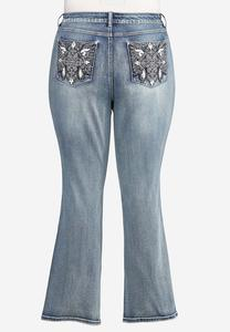 Plus Petite Embellished Bootcut Jeans