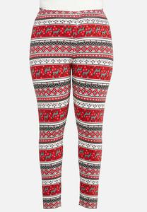 Plus Size Deer Fair Isle Leggings