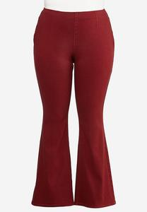 Plus Size Red Flare Jeans