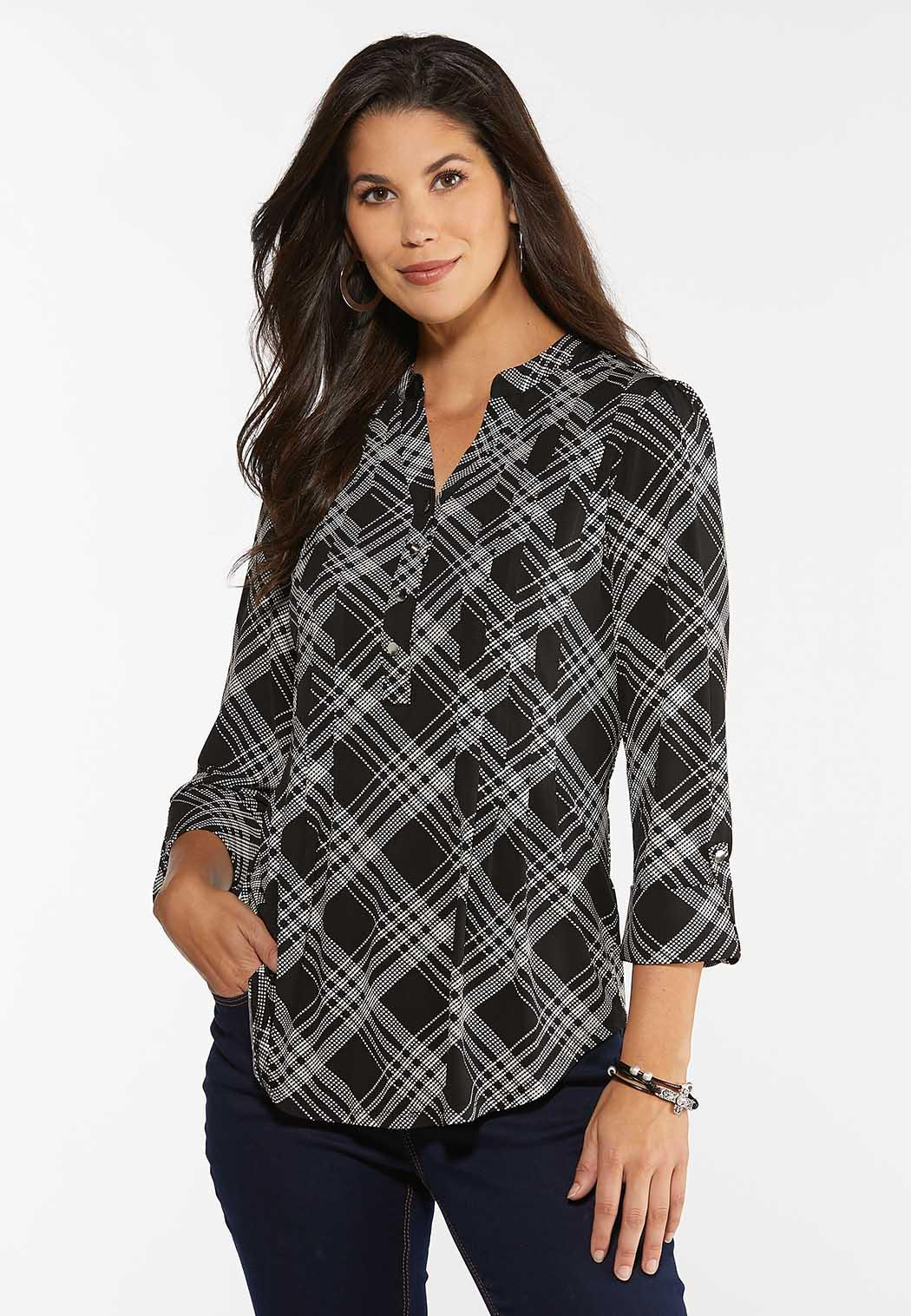 Plus Size Dotted Plaid Top