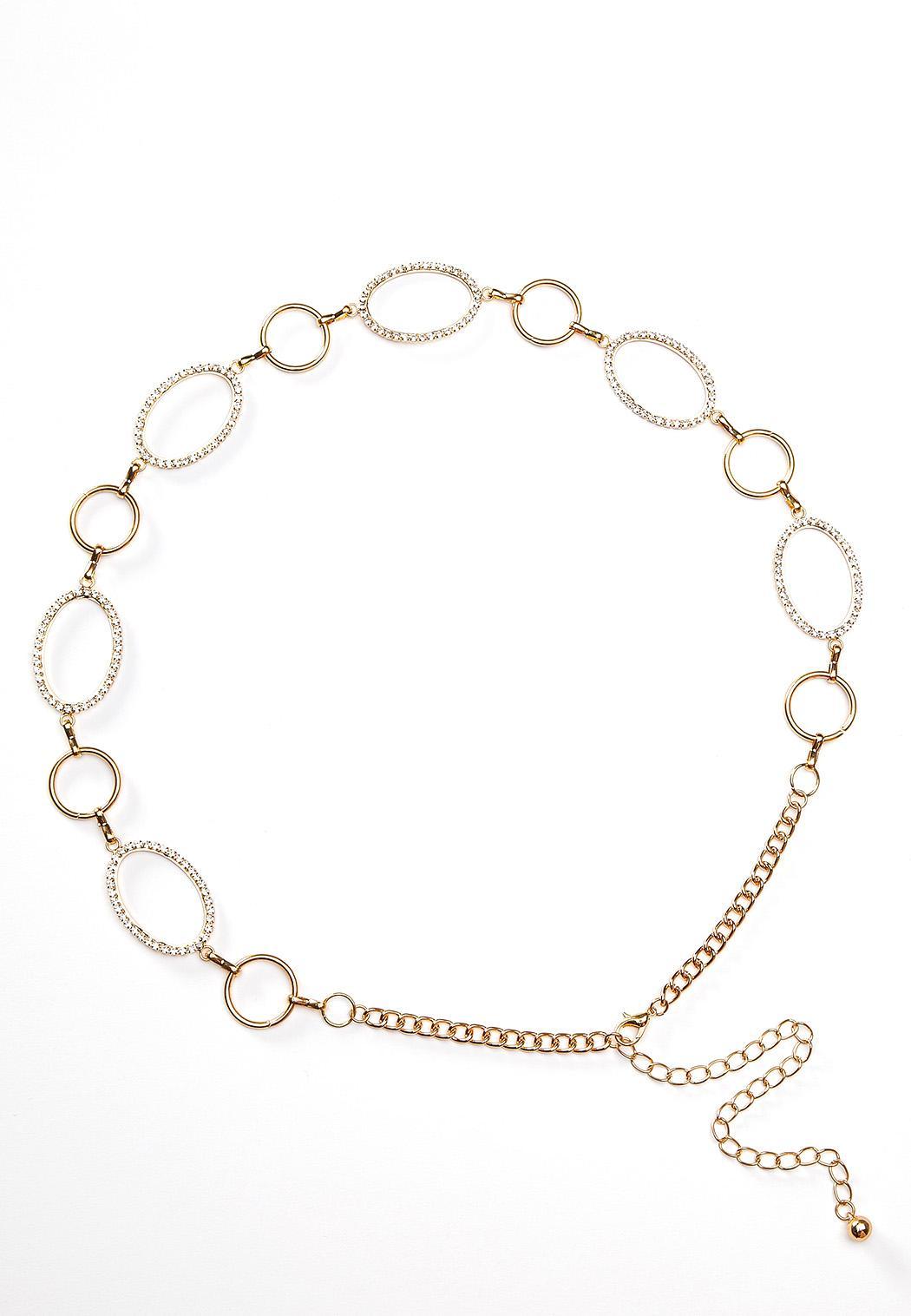 Oval Rhinestone Chain Belt