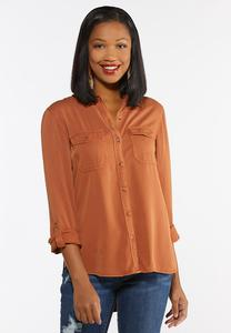 Plus Size Washed Button Down Shirt