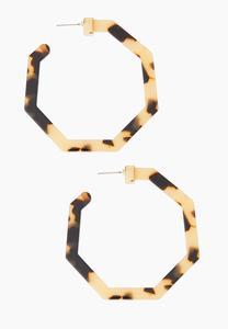 Octagon Tortoise Hoop Earrings