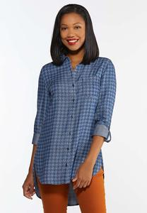 Plus Size Chambray Houndstooth Tunic