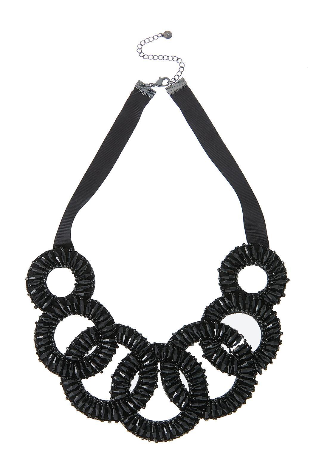 Lobster Clasp Black Bib Necklace