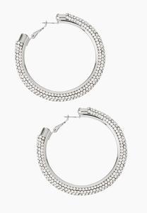Large Stone Hoop Earrings
