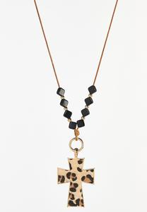 Leopard Cross Pendant Necklace