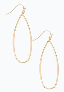 Gold Wire Tear Shaped Earrings