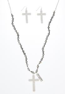 Beaded Cross Necklace Earring Set