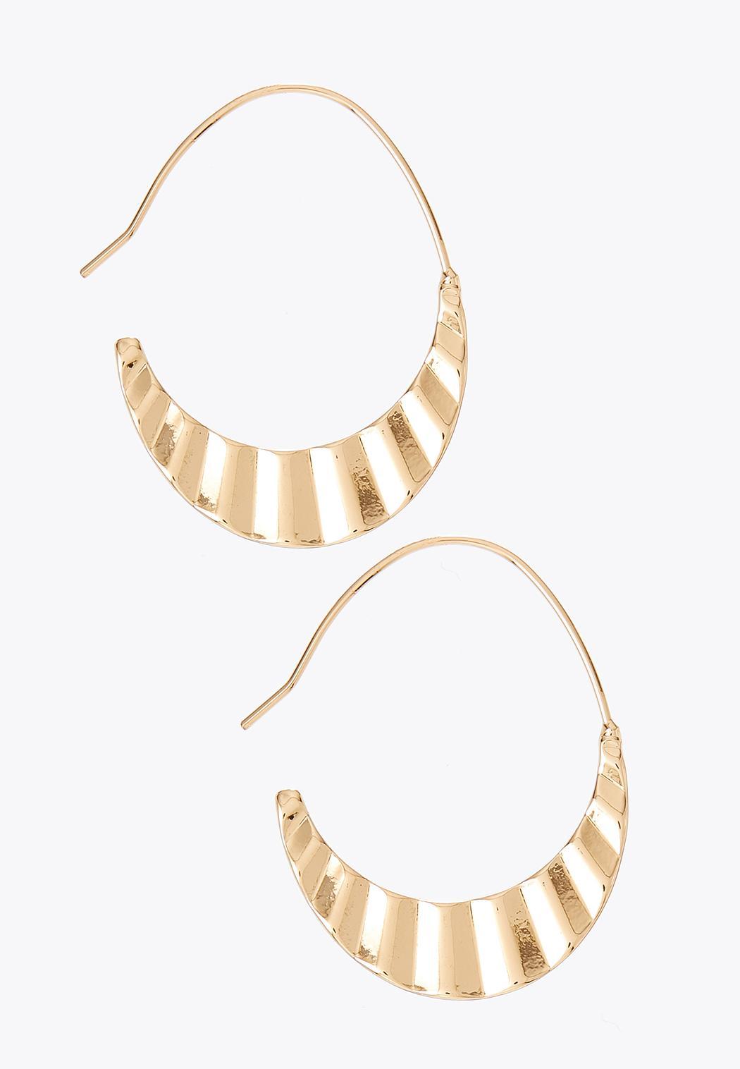 Crinkled Metal Half Hoop Earrings