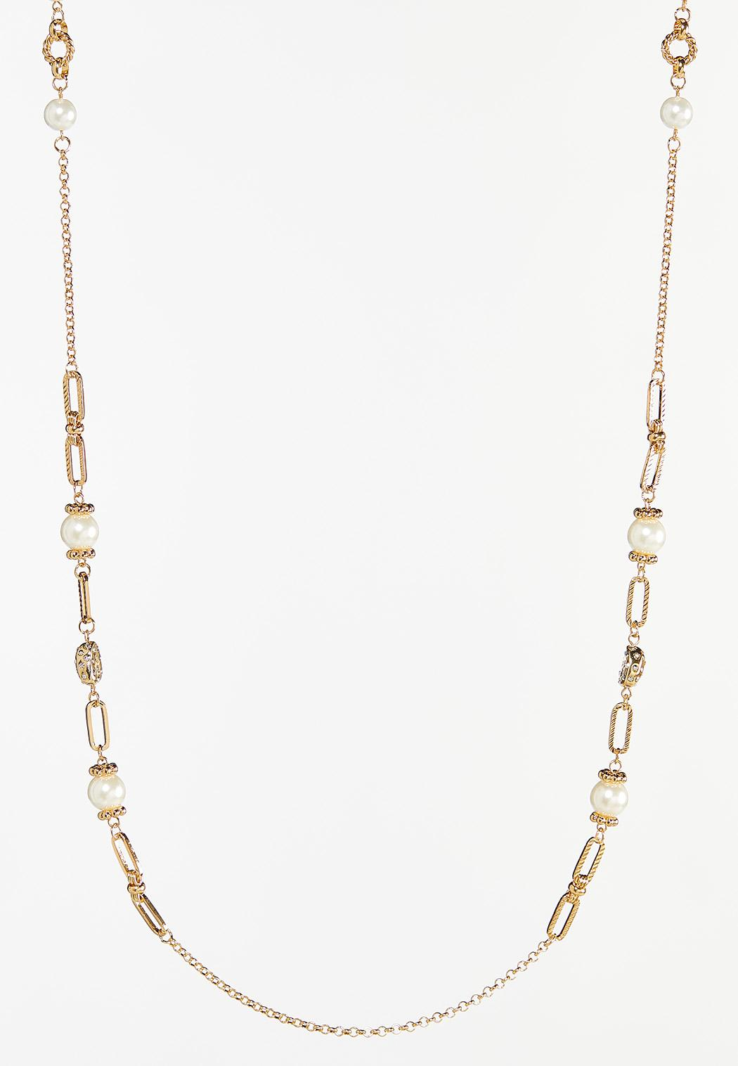 Textured Metal Pearl Necklace
