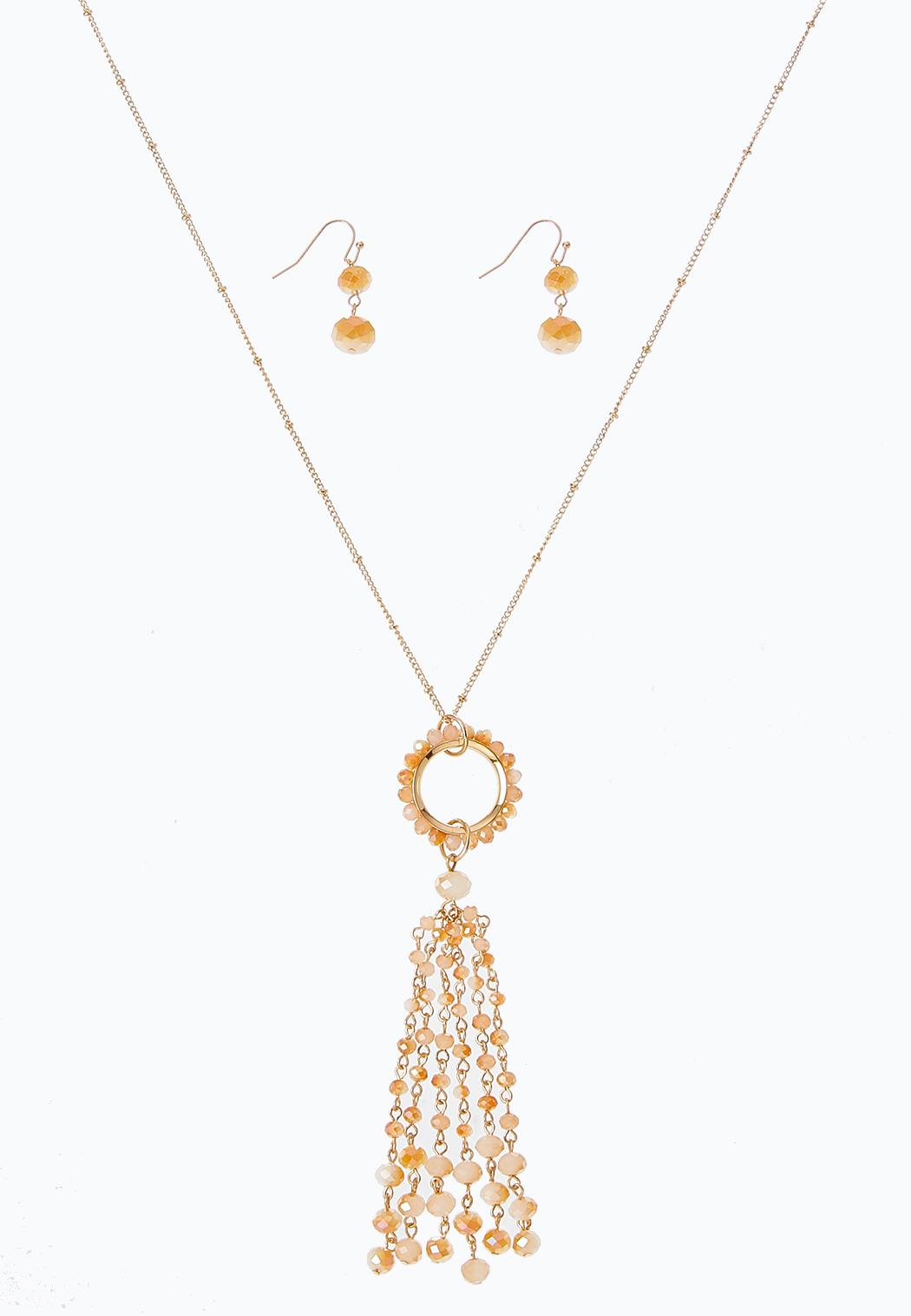 Rondelle Bead Necklace Earring Set