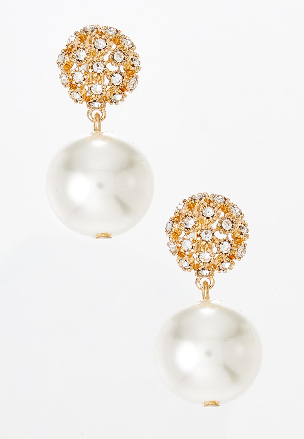 Pave Pearl Clip-On Earrings