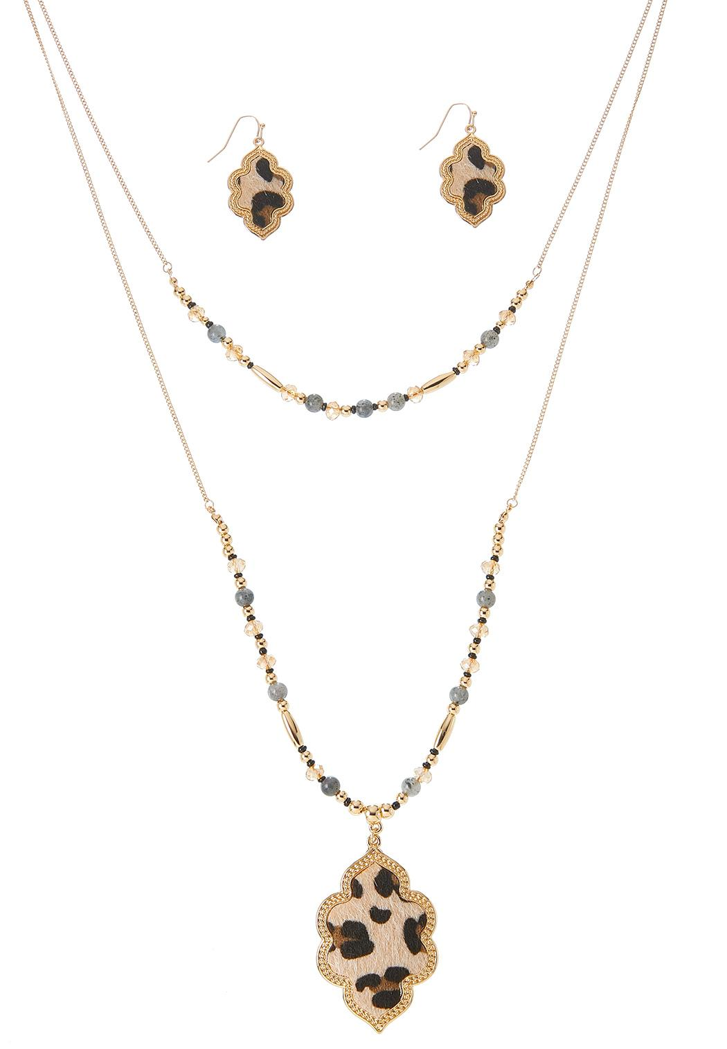 Textured Animal Print Necklace Earring Set