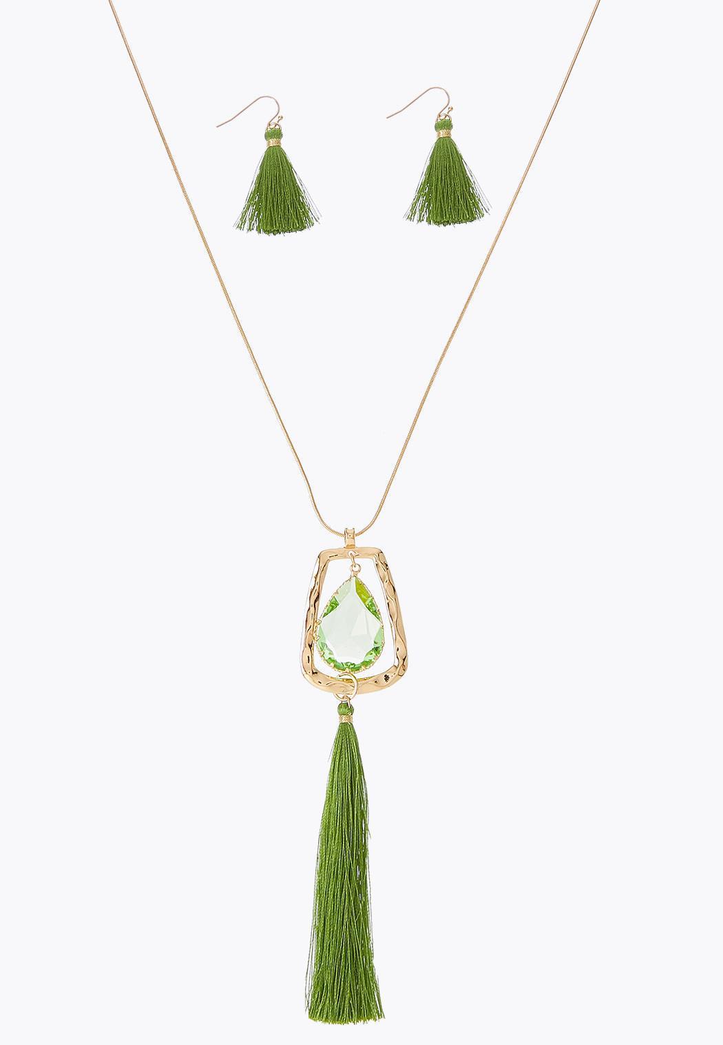 Glass Tassel Necklace Earring Set