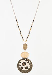 Leopard Disc Pendant Necklace