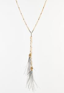 Rondelle Bead Feather Necklace