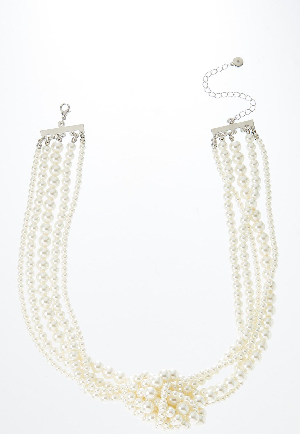 Layered Knotted Pearl Necklace