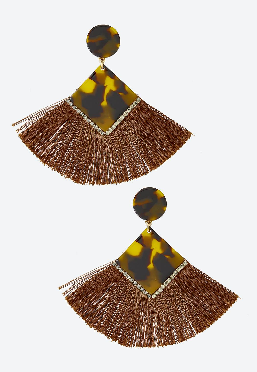 Diamond Tortoise Fringe Clip-On Earrings