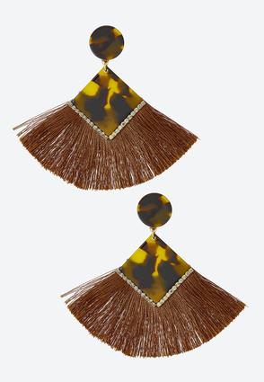 Diamond Tortoise Fringe Clip- On Earrings