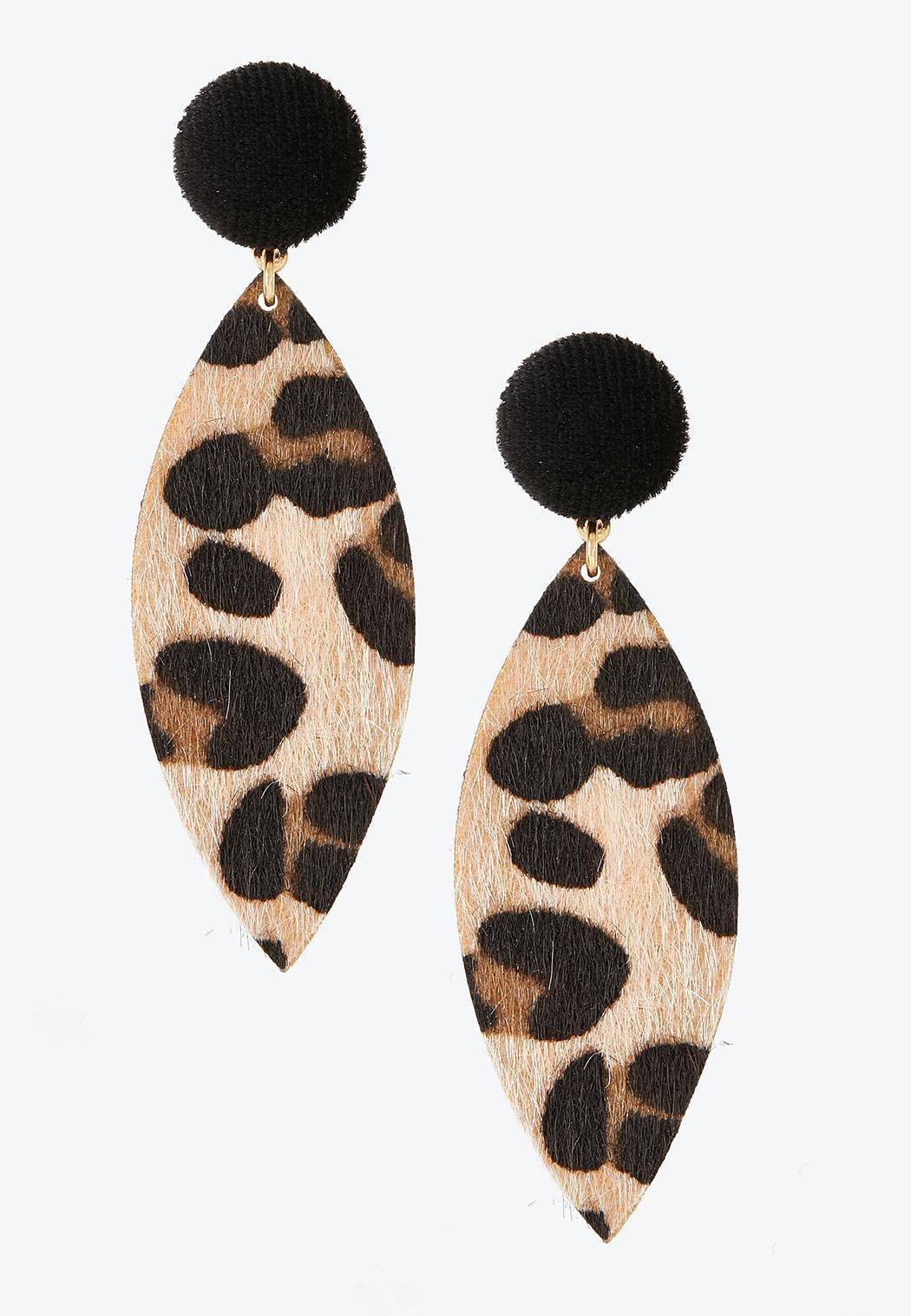 Leopard Velvet Post Clip-On Earrings