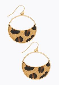 Leopard Half Moon Earrings