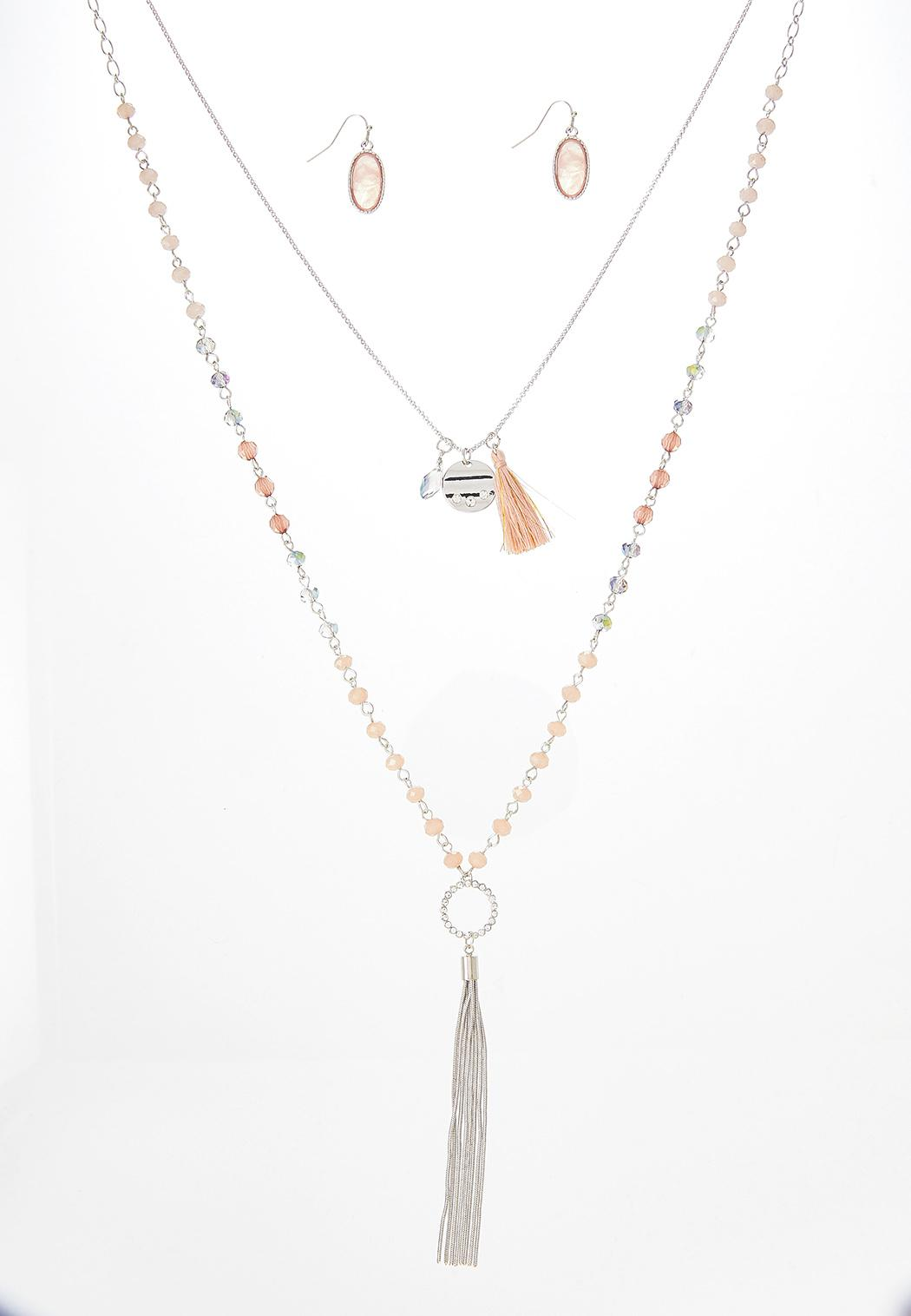 Pink Tassel Necklace Earring Set