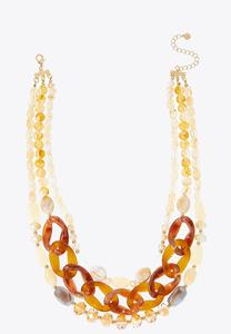 Layered Lucite Mixed Bead Necklace
