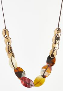Mixed Disk Cord Necklace