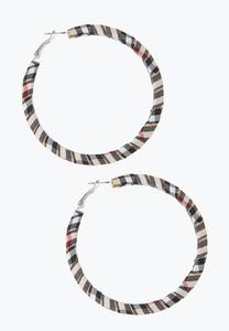 Wrapped Plaid Hoop Earrings