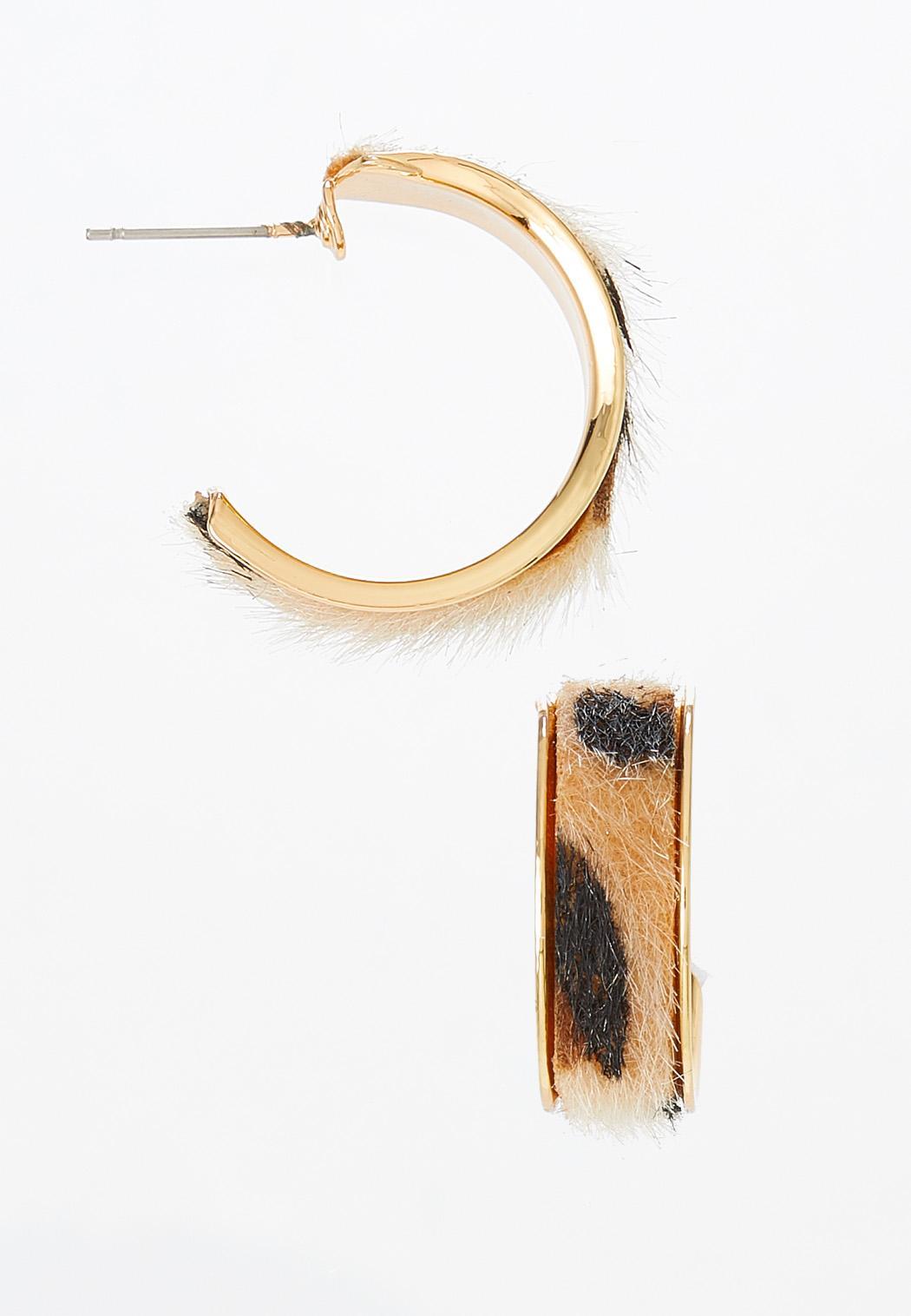 Textured Leopard Hoop Earrings