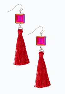 Square Glass Tassel Earrings