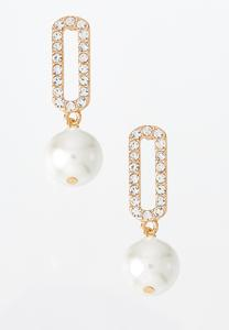 Sparkling Rectangular Pearl Earrings