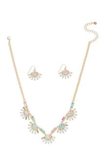 Fanned Glass Necklace Earring Set