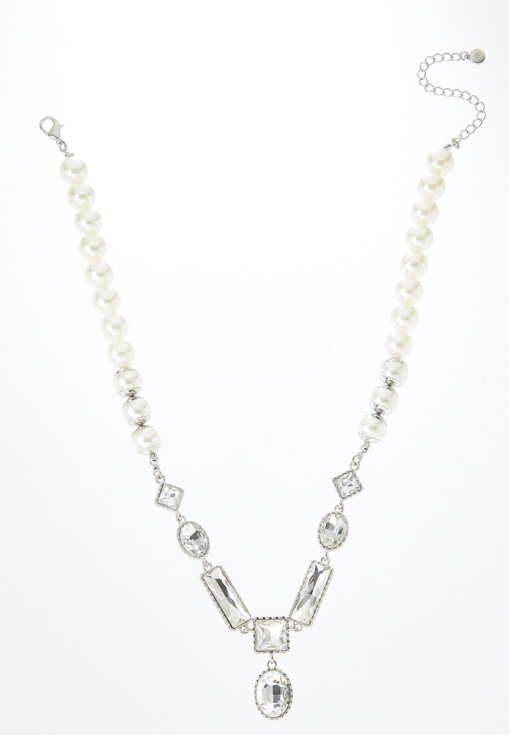 Geo Stone Pearl Necklace