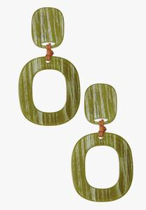 Green Hoop Lucite Earrings
