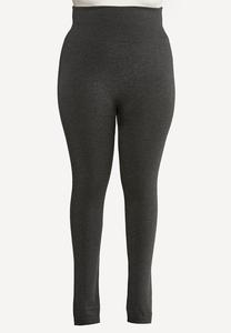Plus Size Solid Fleece Lined Leggings