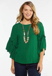 Plus Size Green Shimmer Stripe Top