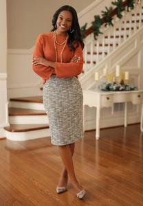 Plus Size Boucle Button Pencil Skirt
