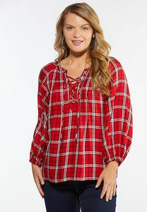 Red Plaid Poet Top