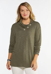 Button Cowl Neck Top