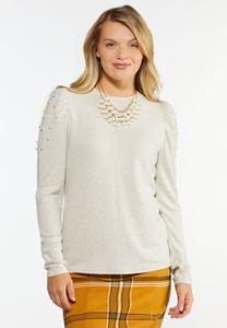 Plus Size Pearly Puff Sleeve Sweater