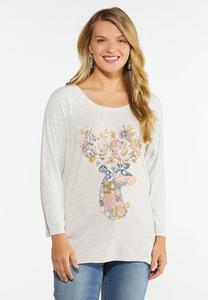 Plus Size Floral Deer Baseball Tee