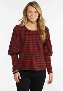 Plus Size Houndstooth Puff Sleeve Top