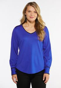 Plus Size Contrast Trim Top