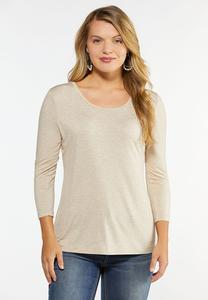 Plus Size Solid Long Sleeve Tee Shirt