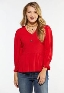 Red Smocked Peplum Top