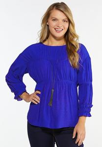 Plus Size Gathered Blue Babydoll Top