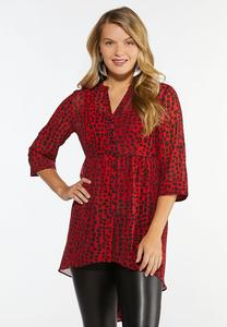 Plus Size Dotted High-Low Tunic