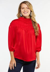 Plus Size Smocked Mock Neck Top